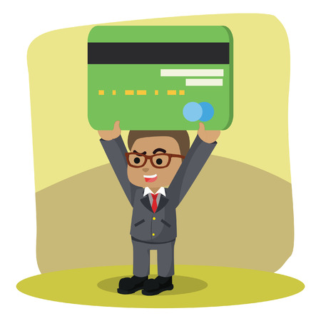 African businessman lifting credit card– stock illustration