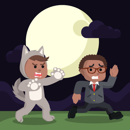 African werewolf chasing people– stock illustration Illustration
