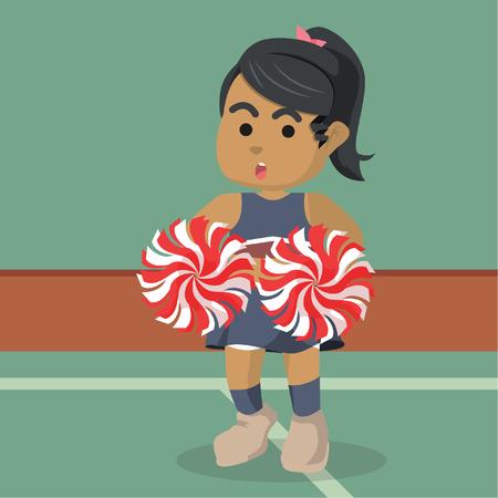 African cheerleader character illustration– stock illustration