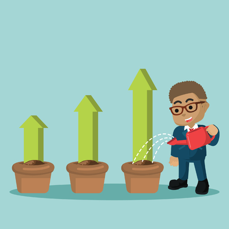 African businessman watering to rising graphic plan– stock illustration 向量圖像