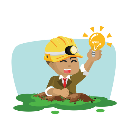 African businessman finding bulb– stock illustration Illustration
