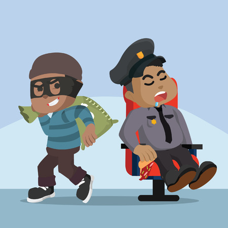 Fat african police sleeping african thief easy stealing good– stock illustration Ilustração
