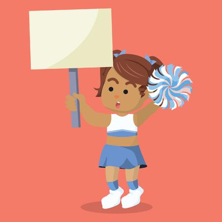 African cheerleader holding sign board– stock illustration Çizim