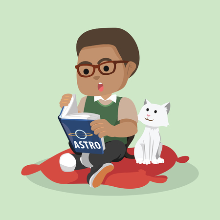 African boy reading while cat watching– stock illustration Çizim