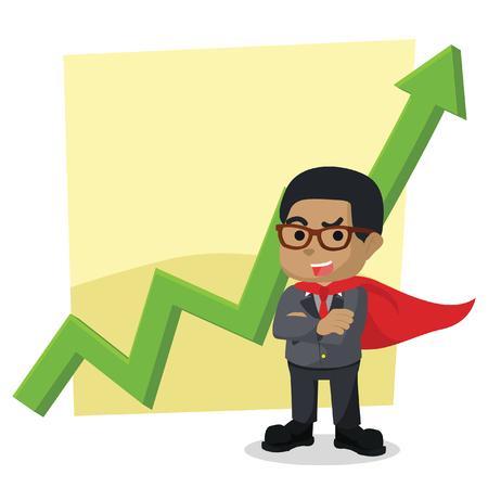 アフリカの青いビジネスマンがグラフィックの前に立っている」ストックイラスト