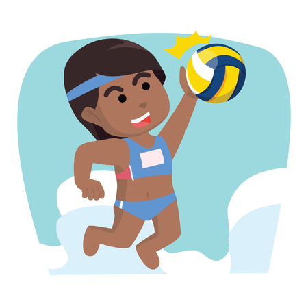 African girl volleyball smashing ball– stock illustration 向量圖像