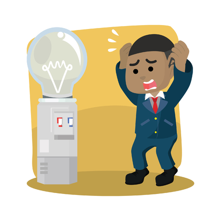 Businessman with bulb dispenser running out– stock illustration Фото со стока - 92843205