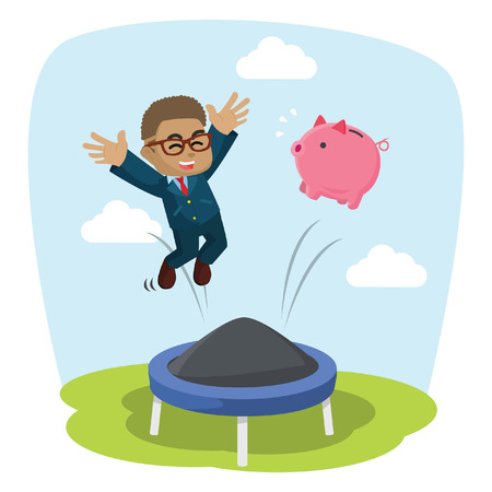 African businessman jumping on trampoline with his piggy bank– stock illustration