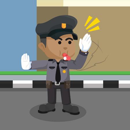 African traffic police illustration– stock illustration.