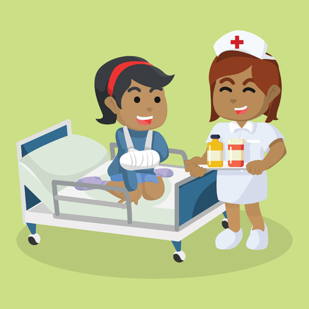 African nurse giving medication– stock illustration.