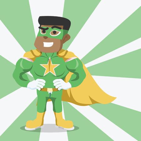 Afrikaanse superheld pose illustratie stock illustratie. Stockfoto - 92844041