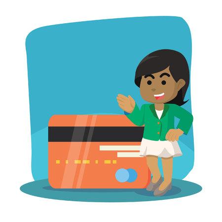 African businesswoman with giant credit card– stock illustration Ilustração