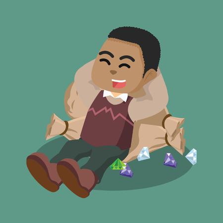 African jeweler sleep on diamond bag– stock illustration