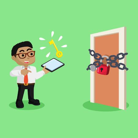 African businessman with locked door– stock illustration