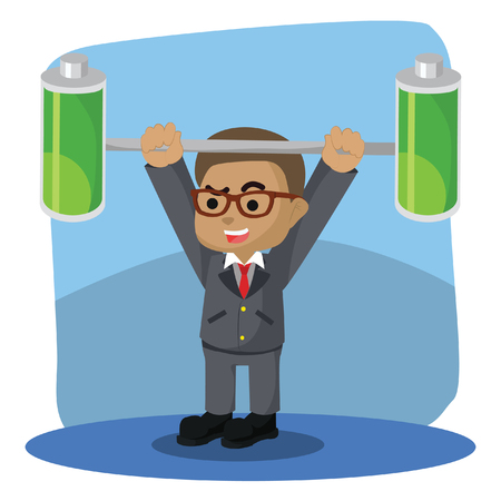 African businessman lifting two full batteries– stock illustration