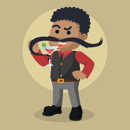 African guy drinking red wine with mustache– stock illustration Illustration