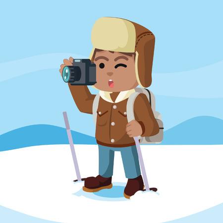 Afrikanischer arktischer Forscher, der Foto in der arktischen Vorratillustration macht. Standard-Bild - 92844047