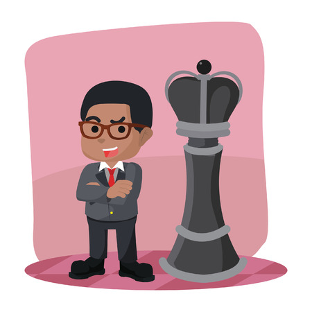 African businessman standing in front king chess piece– stock illustration