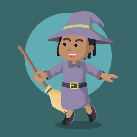 Cheerful african witch holding her broom– stock illustration