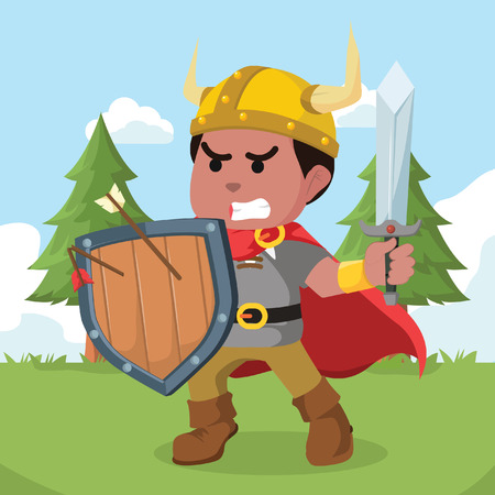 African viking holding shield and sword– stock illustration 일러스트