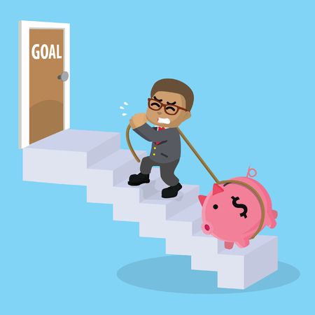 African businessman stairs to goal– stock illustration