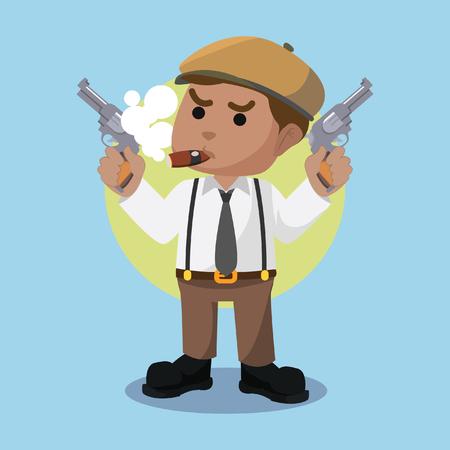 African mafia guy holding two gun– stock illustration
