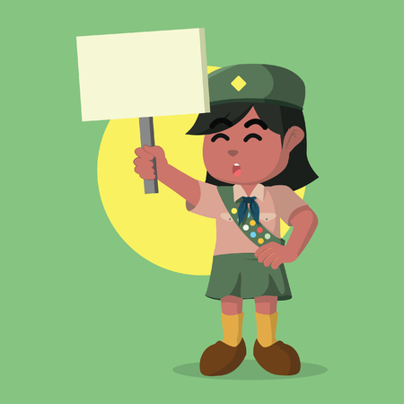 African scout girl holding sign– stock illustration Ilustracja
