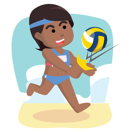 African girl volleyball repelling ball– stock illustration.