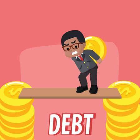 African businessman walking on plank– stock illustration