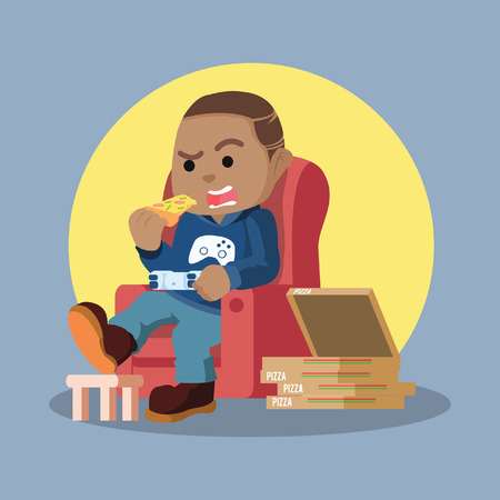 African gamers playing in sofa while eating pizza– stock illustration