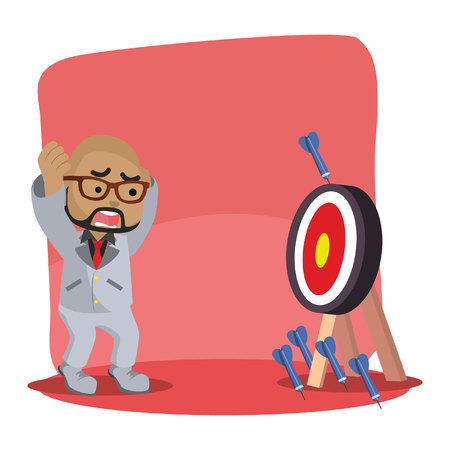 African businessman missing all the target stock illustration.