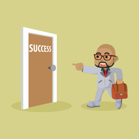 African businessman and success door stock illustration.