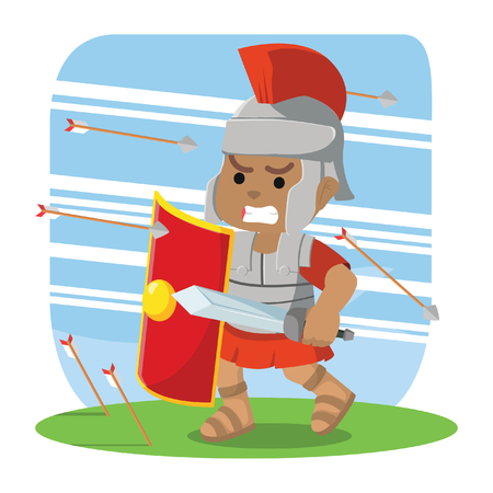African roman soldier taking cover from arrows stock illustration. Stock Vector - 93065009
