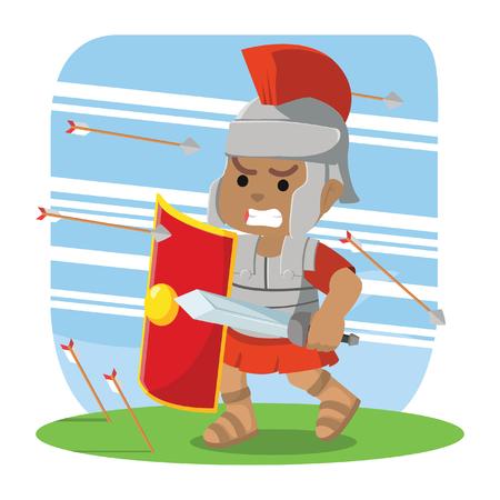 Soldato romano africano che prende copertura dall'illustrazione di riserva delle frecce. Archivio Fotografico - 93065009