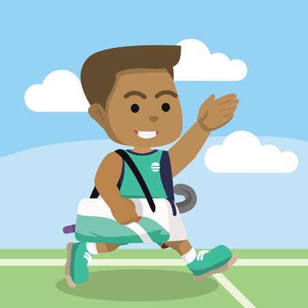 African field hockey player walking after the match– stock illustration.