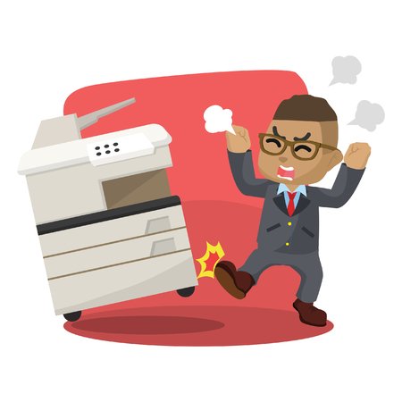 African businessman angry kicking photocopy machine stock illustration. Stock Illustratie