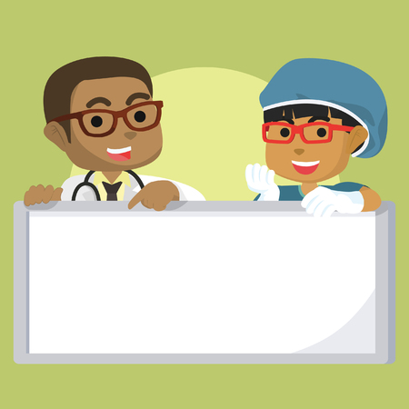 African boy doctor and African girl surgeon holding sign stock illustration.