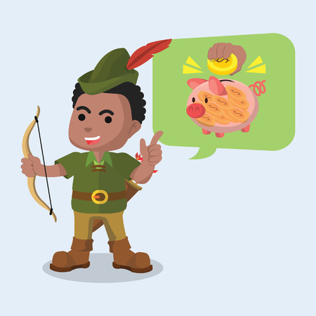 African robin hood telling to save money stock illustration.