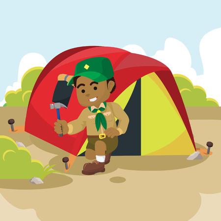 African scout preparing tent– stock illustration Illustration