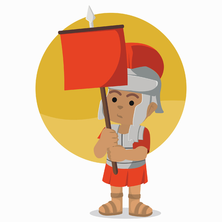 African roman soldier holding banner stock illustration.