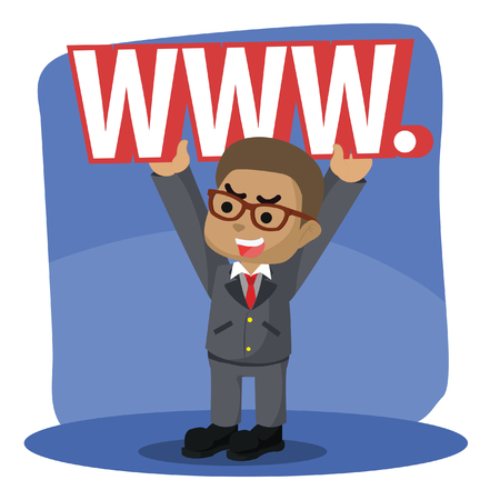 African businessman lifting world wide web sign stock illustration.