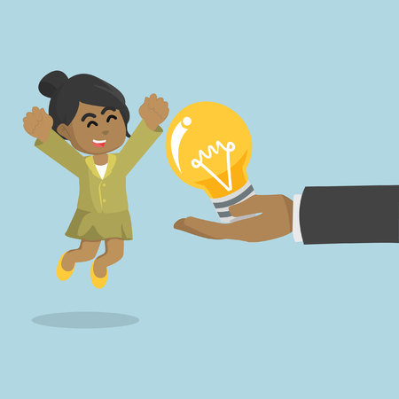 African businesswoman happy because get a bulb– stock illustration