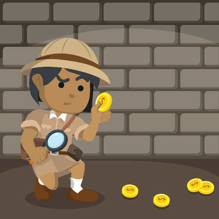 African explorer following coin trail– stock illustration.