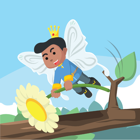African fairy prince hold a flower– stock illustration