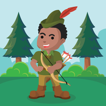African robin hood standing pose– stock illustration