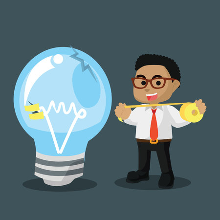 African businessman use duct tape to fix bulb stock illustration. Illustration