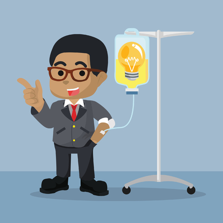 African businessman getting infused by bulb– stock illustration
