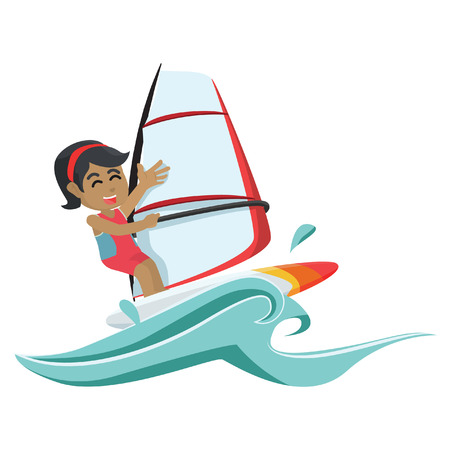 African girl wind surfer– stock illustration