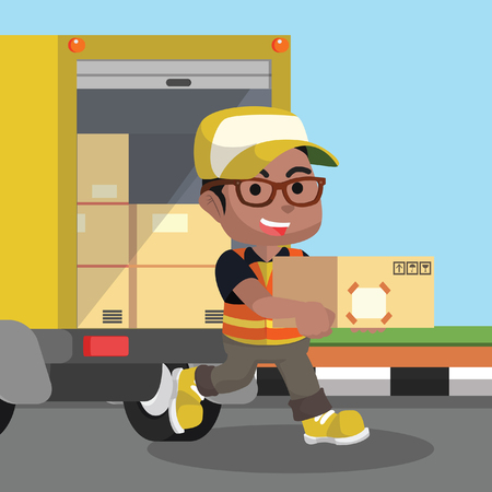 African looking male delivery service unloading the package– stock illustration
