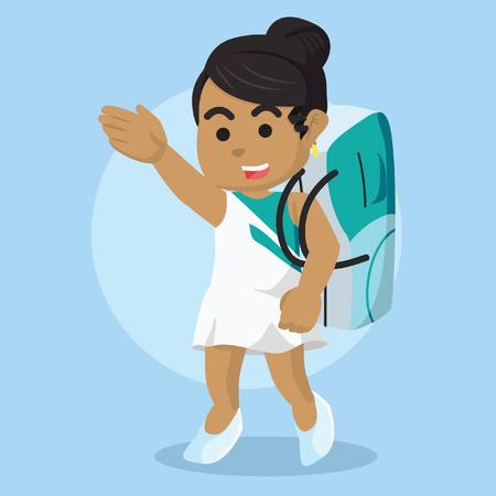 African ribbon dancer walk carrying bag– stock illustration